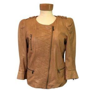 Zara Lamb Leather Light Brown Cropped Jacket